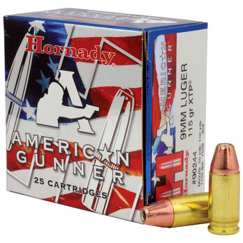 Hornady American Gunner Handgun Ammunition, 9mm Luger, 115-gr., XTP