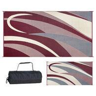 Reversible Graphic Design RV Patio Mat, 8' x 16', Burgundy/Beige