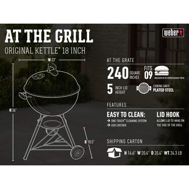 Original Kettle Charcoal Grill, 18""