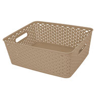 """Home Collections Y-Weave Rectangular Storage Bin, Taupe, 13.75""""L x 11""""W x 5""""H"""