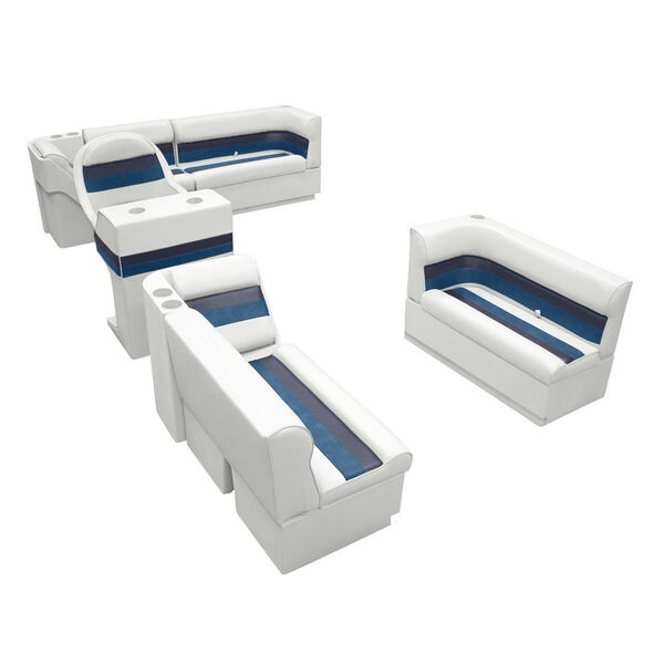 Deluxe Pontoon Seats w/Toe Kick Base, Complete Package A Plus Stand, White/Nvy/B