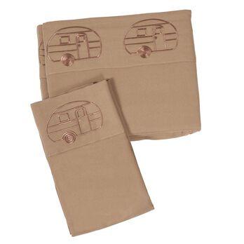 Microfiber Embroidered Sheet Set, Vintage RV Design, Taupe, RV King