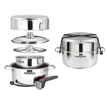 """Magma 7-Piece """"Nesting"""" Stainless Steel Induction Cookware Set"""