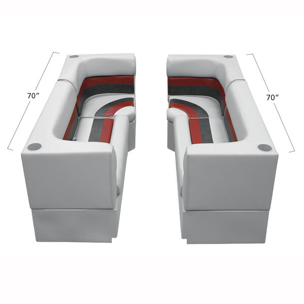 Deluxe Pontoon Furniture w/Toe Kick Base - Party Pit Package, Gray/Red/Charcoal
