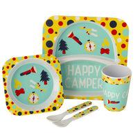 Kid's Happy Camper Food Tray Set, Yellow/Aqua