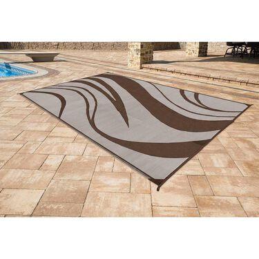 Reversible Wave Design Patio Mat, 9' x 12', Brown