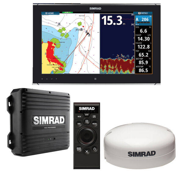 """Simrad NSO evo2 Dual 19"""" Multi-Touch Monitor Bundle with OP50 & GS25 GPS Antenna"""