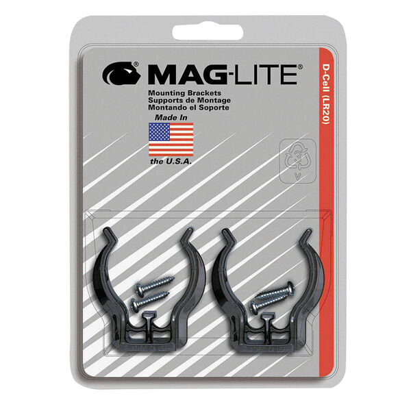 Maglite Mounting Bracket, D Cell, 2-Pack