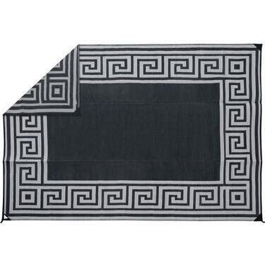 Reversible Greek Motif Design Patio Mat, 6' x 9', Black