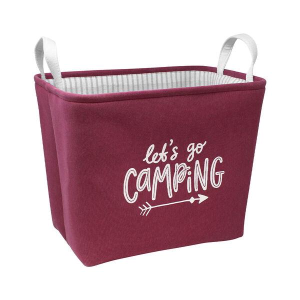 Let's Go Camping Rectangular Storage Bin, Burgundy