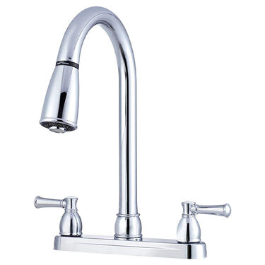 Dura Faucet Dual-Lever Pull-Down Kitchen Sink Faucet, Chrome