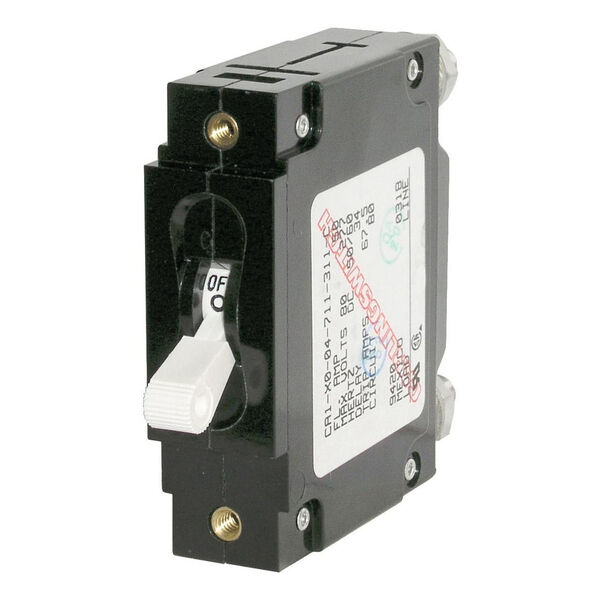 Blue Sea Circuit Breaker C-Series Toggle Switch, Single Pole, 25A, White
