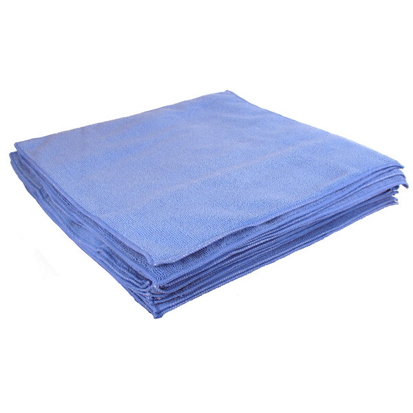 """Buffalo 16"""" x 16"""" Microfiber Cleaning Cloths, Blue, 5-Pack"""