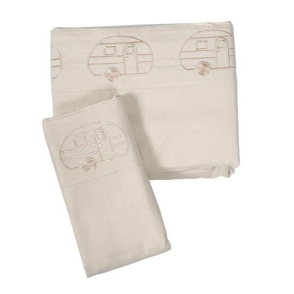 Microfiber Embroidered Sheet Set, Vintage RV Design, Ivory, Bunk