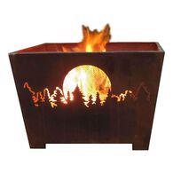 Forest & Moon Fire Basket, Sheet Metal, Rust Finish