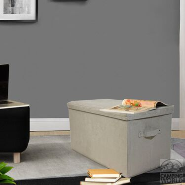 Folding Storage Bench - Microsuede, Beige