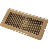 "JR Products 4"" x 10"" Dampered Metal Floor Register, Brown"