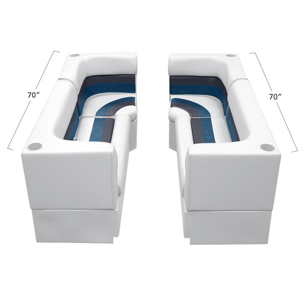 Deluxe Pontoon Furniture w/Toe Kick Base - Party Pit Package, White/Navy/Blue