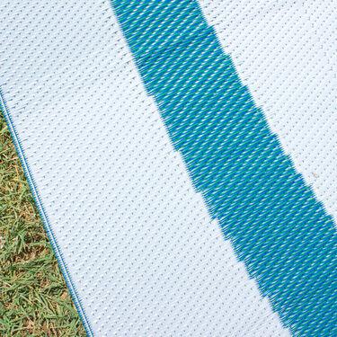 Reversible Graphic Design Patio Mat, 8' x 12', Blue/Green
