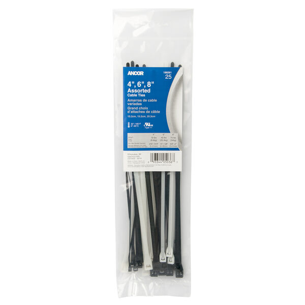 Ancor Cable Tie Kit, Natural and UV Black, 25 Pack