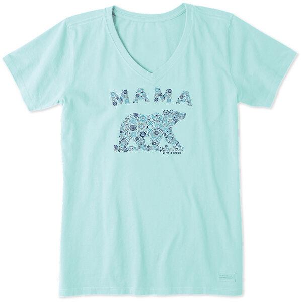 Life Is Good Women's Mama Primal Bear Crusher Vee Short Sleeve Tee