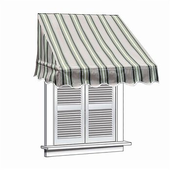 ALEKO 4x2 Multistripe Green Window Awning Door Canopy 4-Foot Decorator Awning