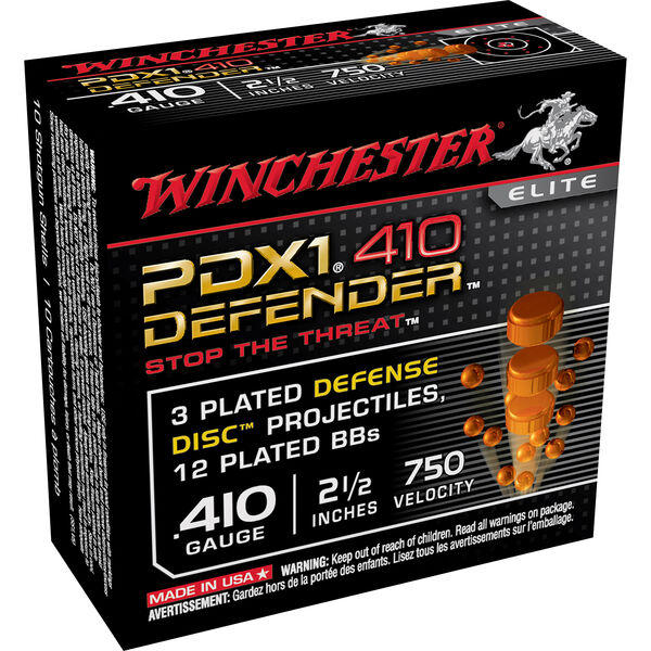 "Winchester PDX1 410 Defender Elite Discs, .410-bore, 2-1/2"", 3DD/12 BB"