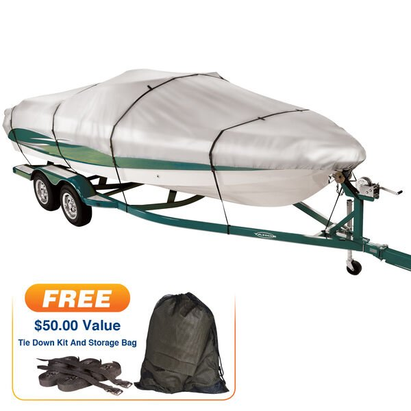 "Covermate Imperial 300 Tri-Hull Outboard Boat Cover, 18'5"" max. length"