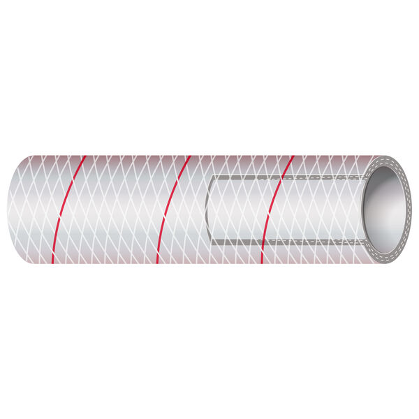 "Shields 3/8"" Polyester-Reinforced Red-Tracer Tubing, 50'L"