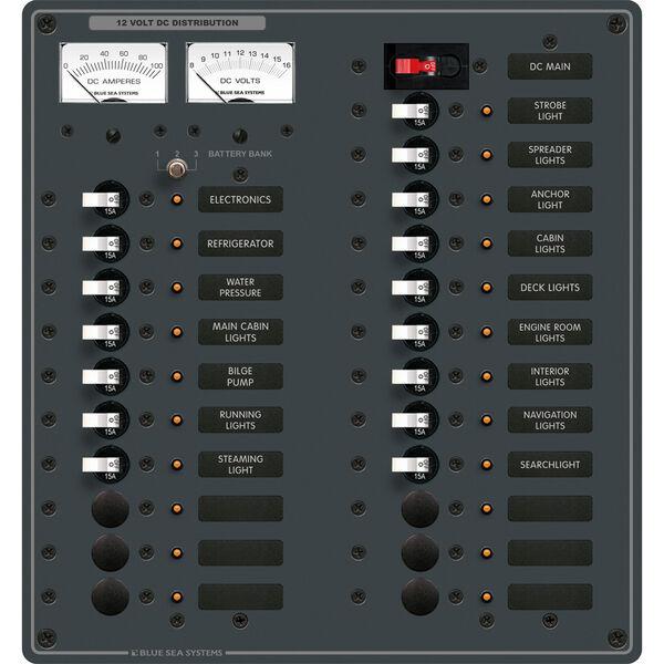 Blue Sea 12V DC Main + 22 Position Circuit Breaker Panel w/Analog Meters
