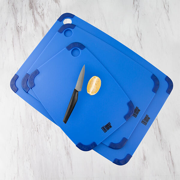 Robert Irvine 3-Piece Non-Slip Cutting Board Set, Blue