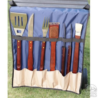 No Tipper Topper Kit with Matching BBQ Utensil Bag, Tan