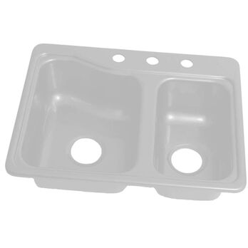 """25"""" x 19"""" 3 Hole Double Bowl Galley Sink - White"""