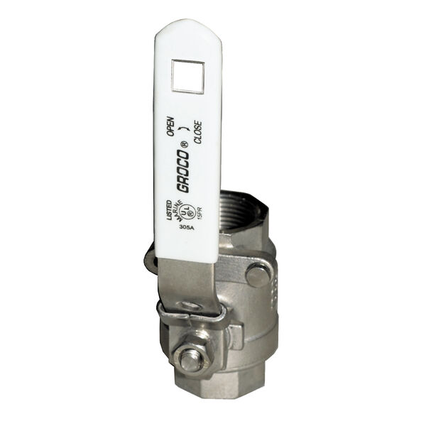 "Groco IBV Series Stainless Steel Full-Flow In-Line Ball Valve, 1-1/2"" Pipe"