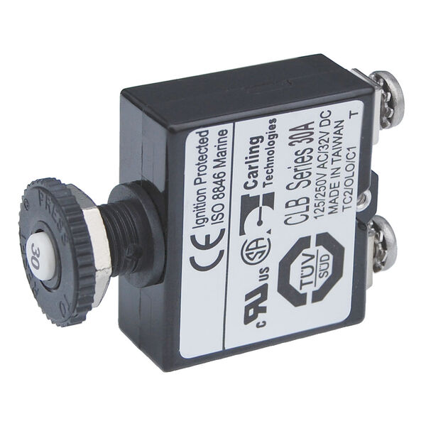 Blue Sea Systems Push-Button Reset-Only Screw Terminal Circuit Breaker, 30 Amps