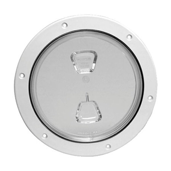 "Screw-Out 6"" White Deck Plate With Clear Center"