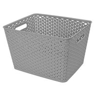 """Home Collections Y-Weave Rectangular Storage Bin, Light Gray, 13.75""""L x 11""""W x 9""""H"""