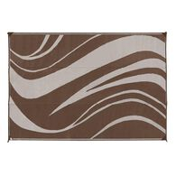 Reversible Wave Design Patio Mat, 6' x 9', Brown