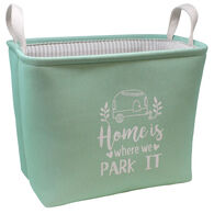 """Home is where we Park It"" Rectangular Storage Bin, Mint"