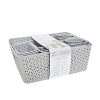 Home Collections 10-Piece Y-Weave Storage Basket Set, Light Gray