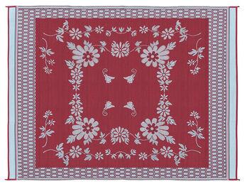 Reversible Floral Design Patio Mat, 9' x 12', Burgundy/White