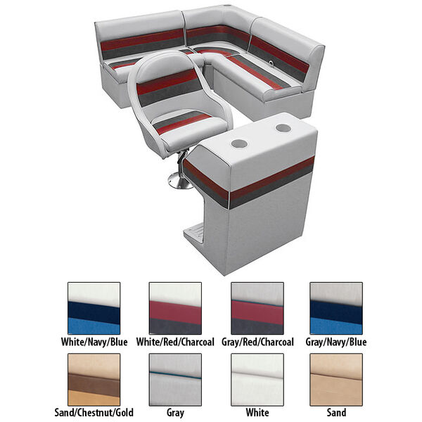 Deluxe Pontoon Furniture w/Classic Base - Rear Group Package D, White