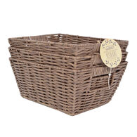 Manor House Market Faux Rattan Resin Bins, 3 Pieces, Brown