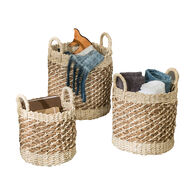 Honey Can Do Coastal Collection Nesting Tea-Stained Woven Baskets, Set of 3