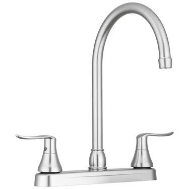 Dura Faucet Elegant J-Spout RV Kitchen Faucet, Brushed Satin Nickel