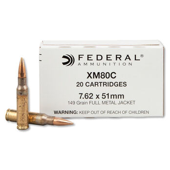 Federal XM80C Rifle Ammunition, 7.62x51mm NATO, 149-gr., FMJ