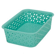 "Plastic Weave Rectangular Bin, 8""L x 6""W x 2.5""H, Teal"