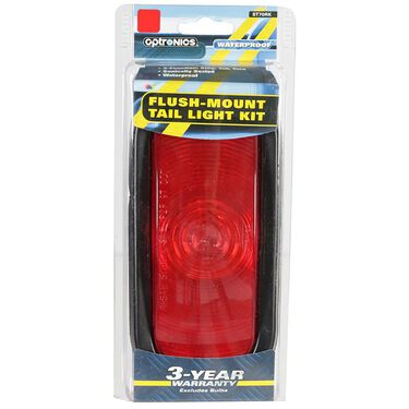 """Sealed Tail Light; 6"""" red oval, flush mount with rubber grommet ring"""