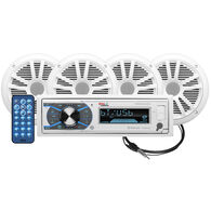 "Boss MCK632WB.64 AM/FM/MP3/USB Bluetooth Receiver Package w/Four 6.5"" Speakers"