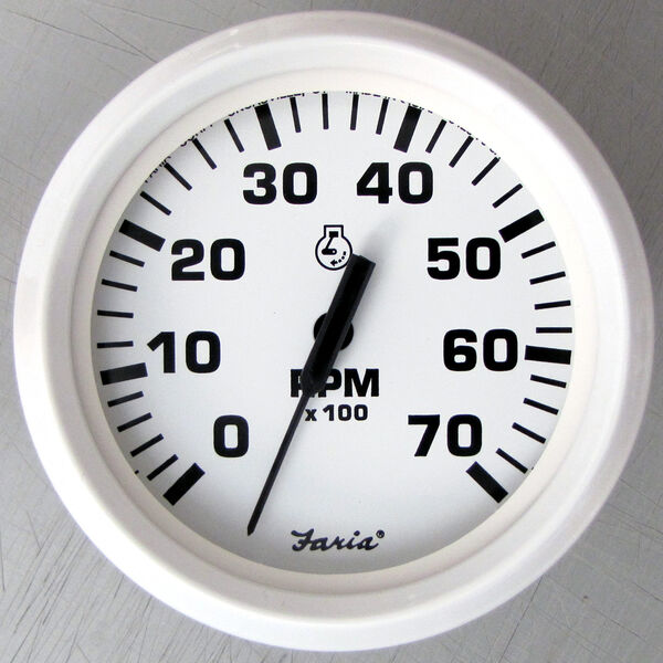 "Faria 4"" Dress White Series Tachometer, 7,000 RPM Outboard"